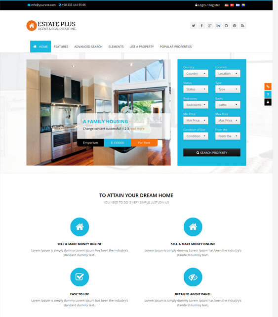 This real estate WordPress theme offers a clean design, a