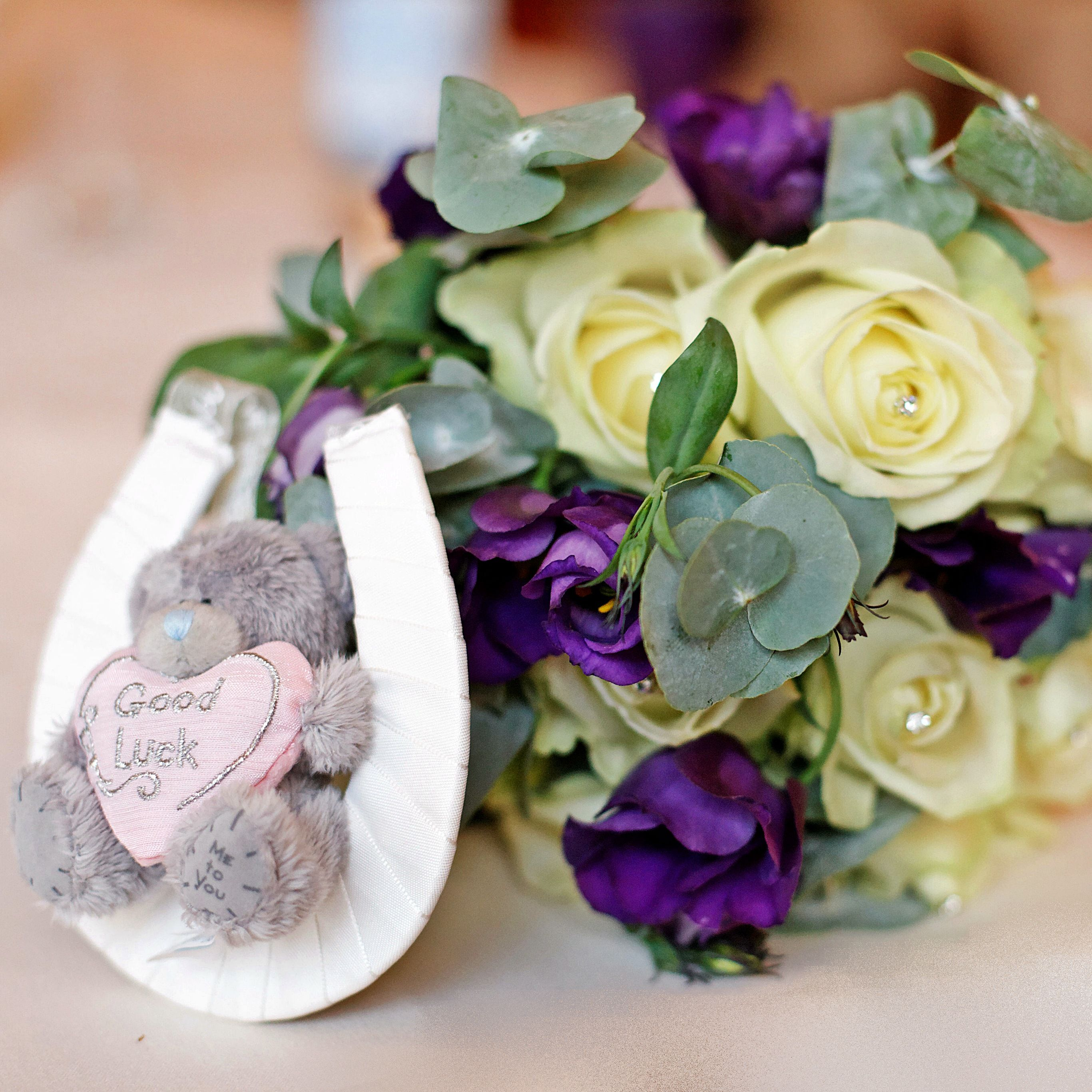 Purple Wedding Ideas With Pretty Details: Brides Bouquet And Good Luck Gift From Her Mum. Purple