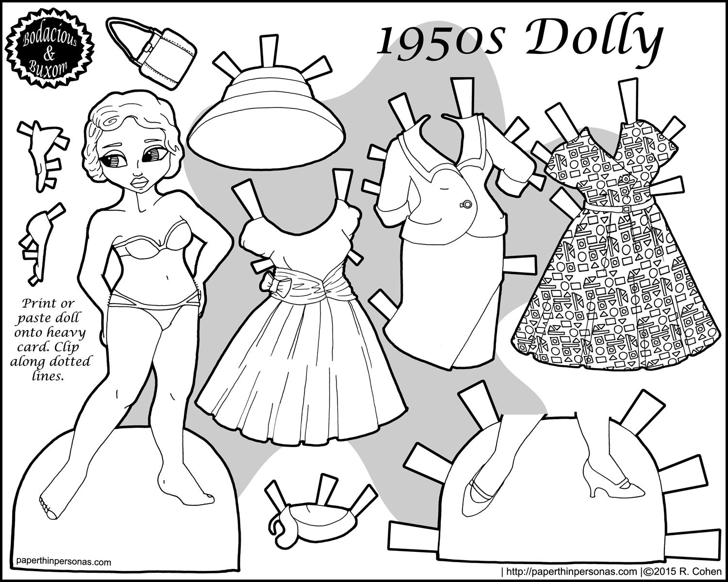 A printable paper doll with a 1950s vintage wardrobe in black and white she has a suit a cocktail dress and a day dress