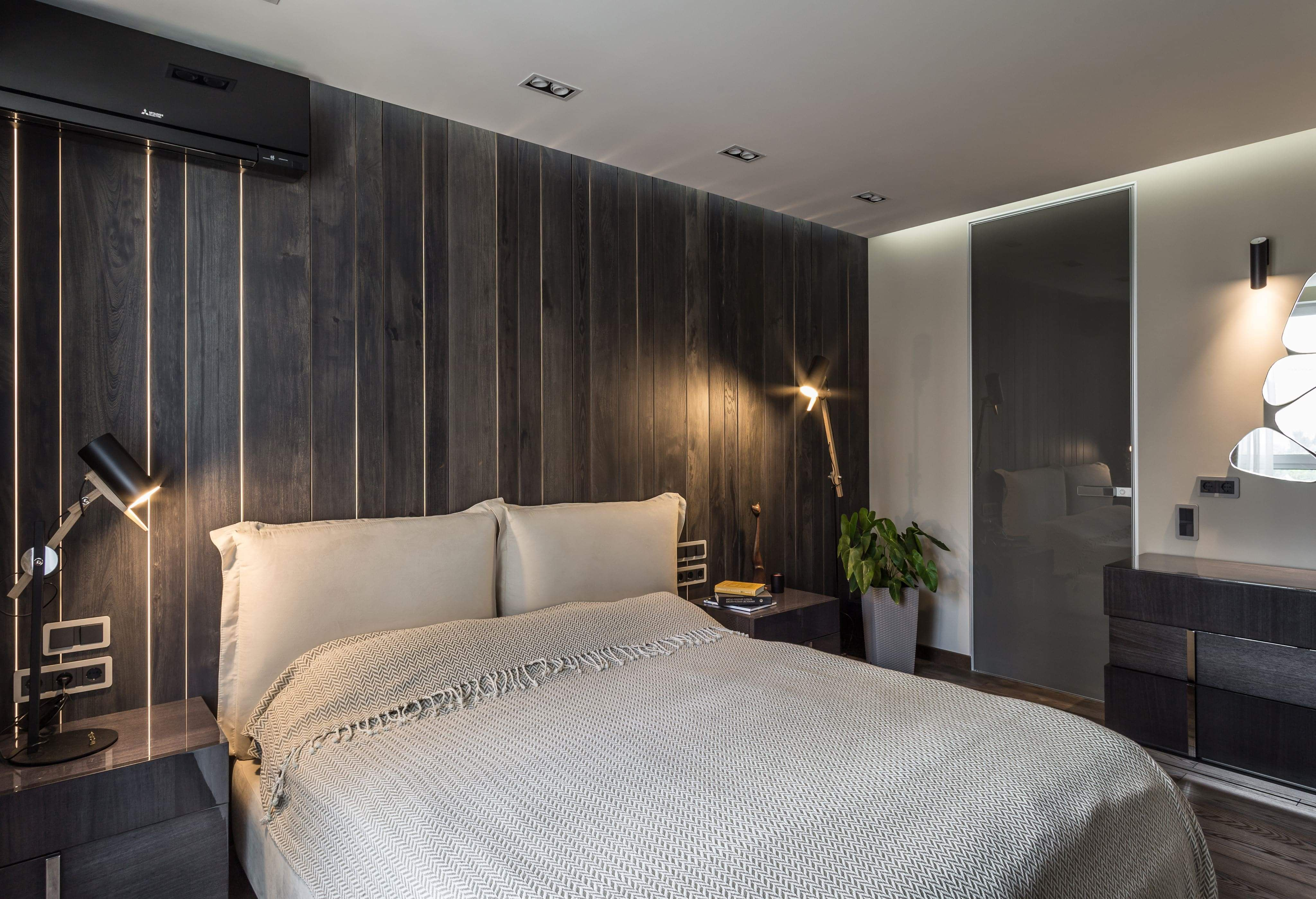 Wooden Panel Fence With Lighting In Bedroom Interior Wooden Wall Panels Wall Panels Bedroom One Bedroom Apartment