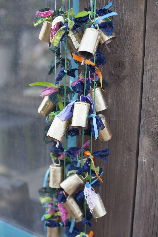 Brass Bell Chim- Solid Brass Bells on String-entry Door Chime -Brass Bells chimes-Bell Chime-Corded Bells-Unique Gift-Brass Bell Door Chime- by RONITPETERART on Etsy