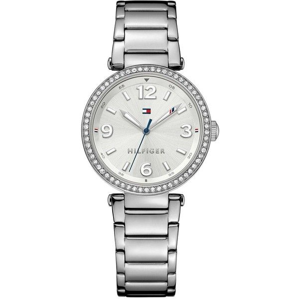 Tommy Hilfiger Silver Dial Stainless Steel Bracelet Ladies Watch ($170) ❤ liked on Polyvore featuring jewelry, watches, blue jewelry, stainless steel watches, white wrist watch, water resistant watches and stainless steel jewellery