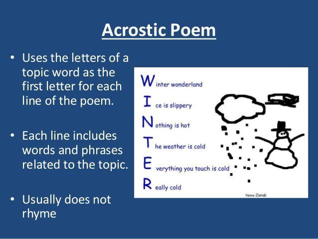 Acrostic Poem Example | Acrostic Poems | Pinterest | Examples ...