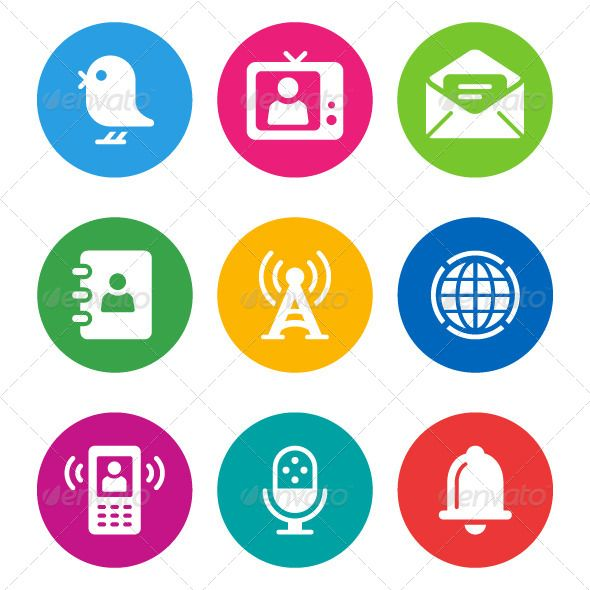 Color Communication Icons ... Address Book, Alarm, Antenna