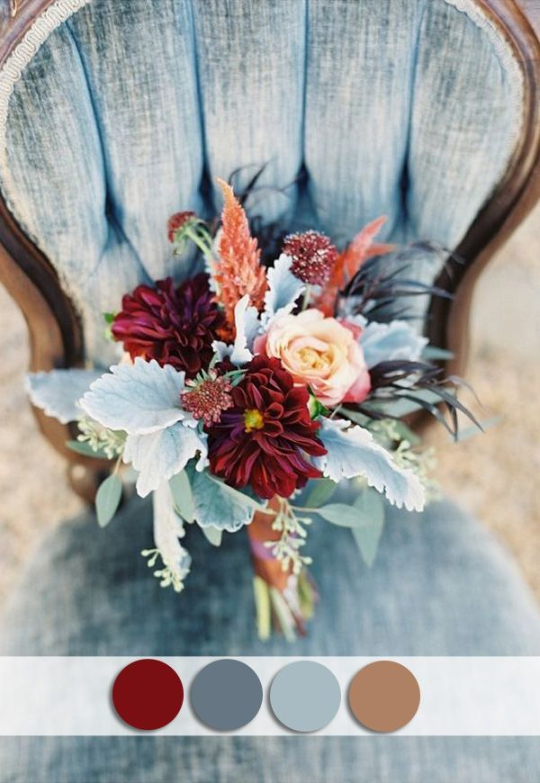 Beautiful Burgundy And Dusty Blue October Wedding Colors For Fall 2015