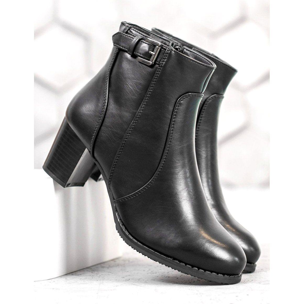 J Star Klasyczne Botki Na Obcasie Czarne Elegant Boots Black High Heels Black Heels