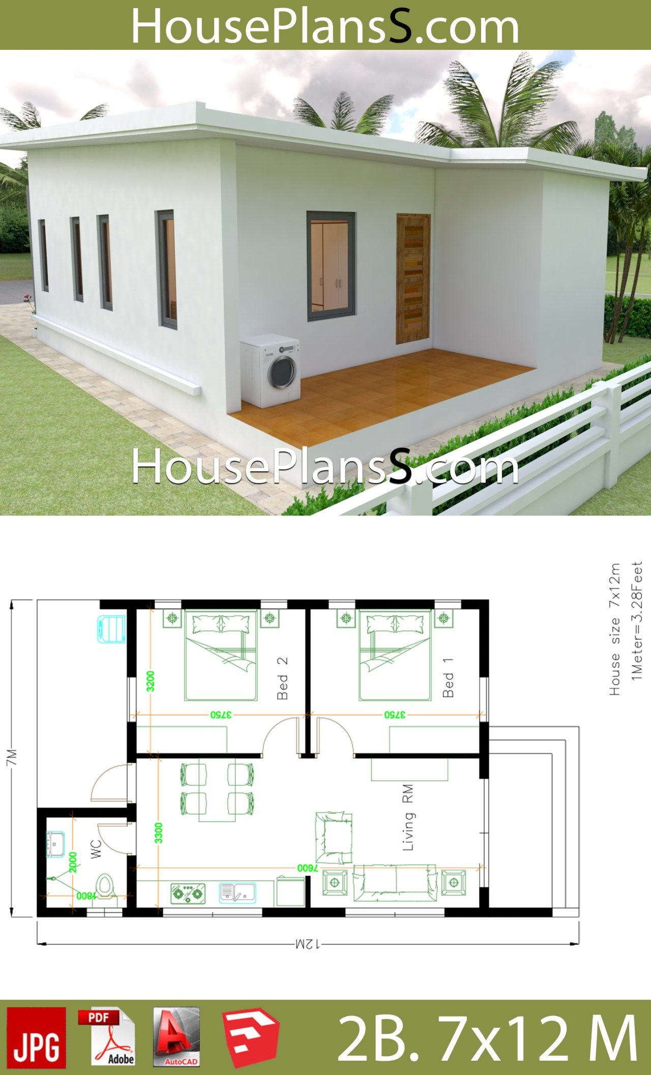 Small House Design Plans 7x12 With 2 Bedrooms Full Plans House Plans 3d Small House Design Plans Village House Design Small House Design