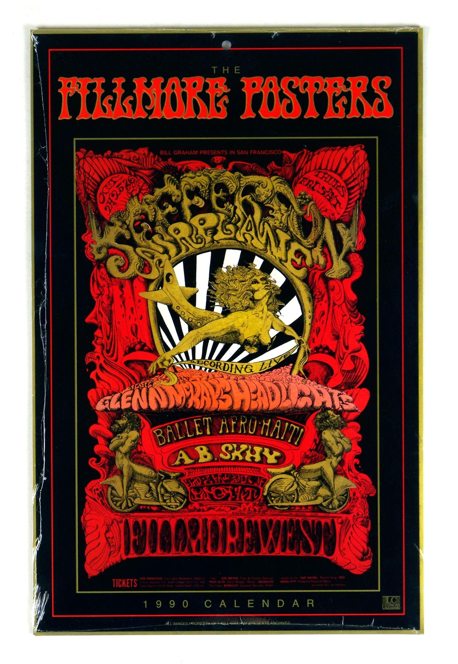 Bill Graham Fillmore Poster Calendar 1990 Vintage Original Rock