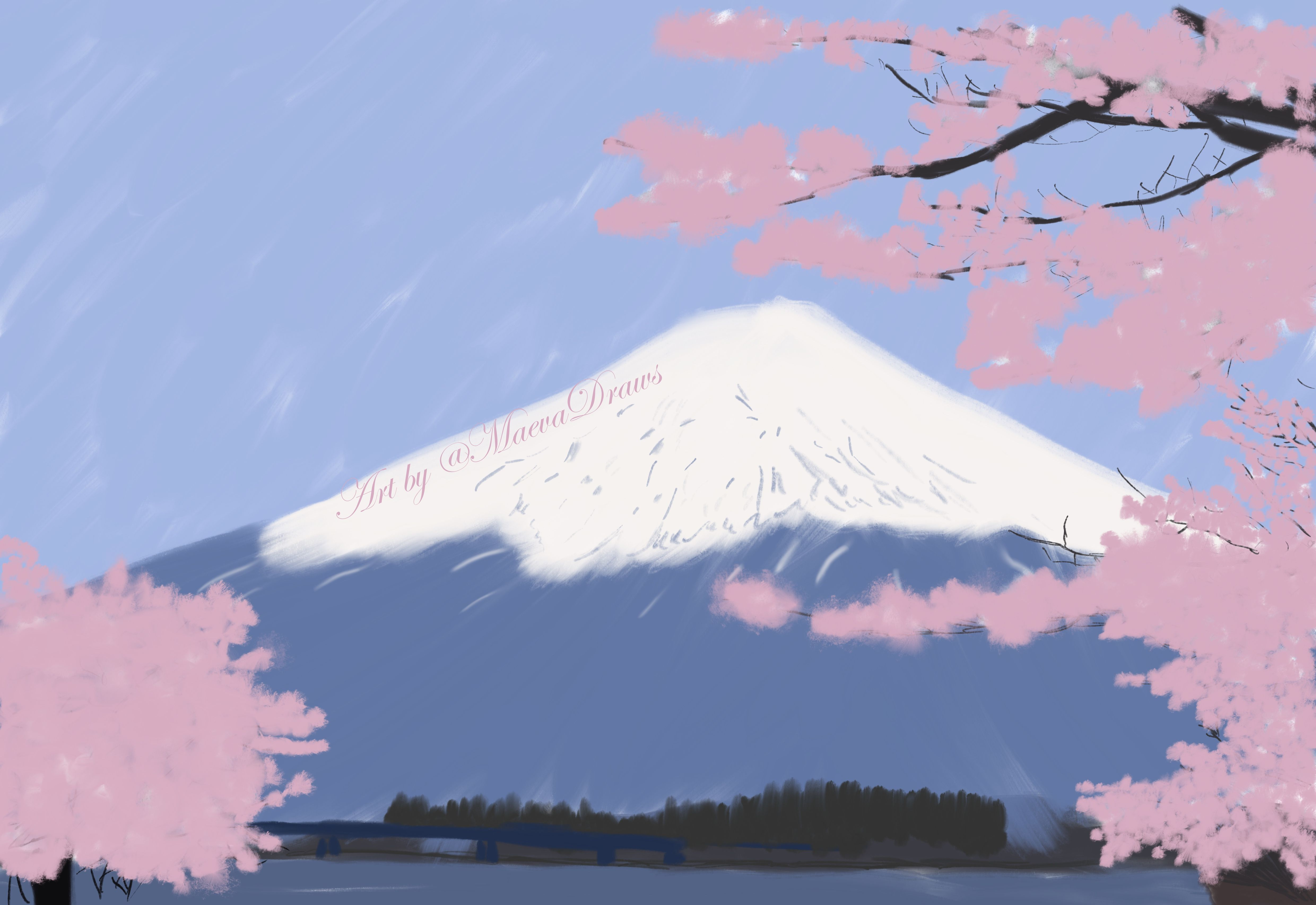 Japan Mount Fuji Gouache Digital Painting Framed Print By Maeva Draws Japan Painting Framed Art Prints Wall Art Canvas Prints