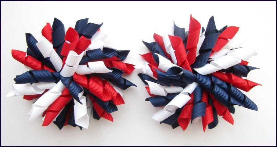 red//white Handmade Bow Korker Bobble school colour