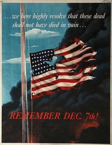 Remember December 7th Pearl Harbor WWII American Patriotic Advertisement Poster