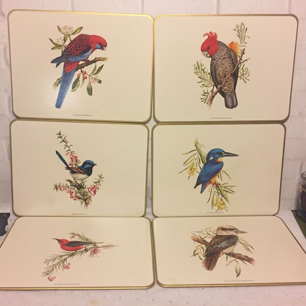 Jason Australian Birds Cork Placemats Set Of 6 Vintage Made In New Zealand Placemats Australian Birds Vintage