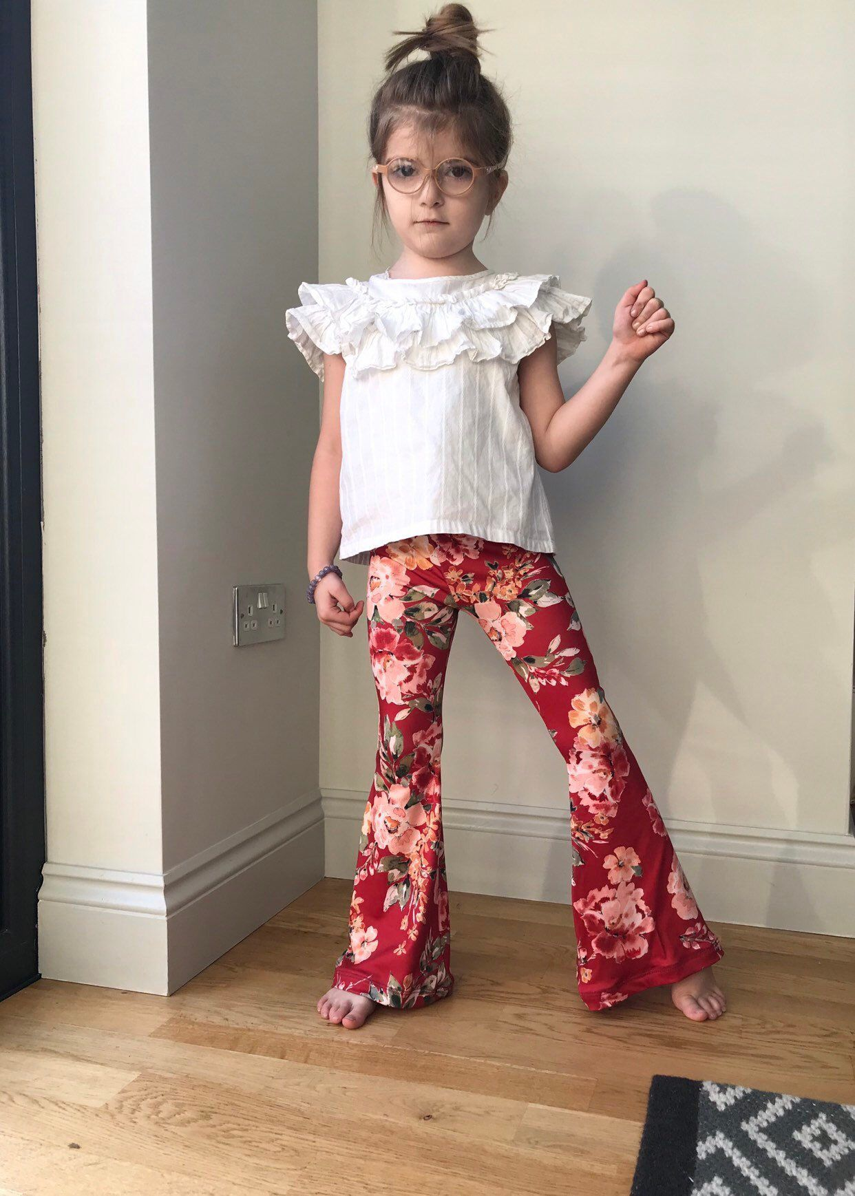d6dab93f297b5 Excited to share this item from my #etsy shop: Floral Bell bottoms / girls flare  leggings / boho hippie girls red flares / toddler flares / kids flared ...