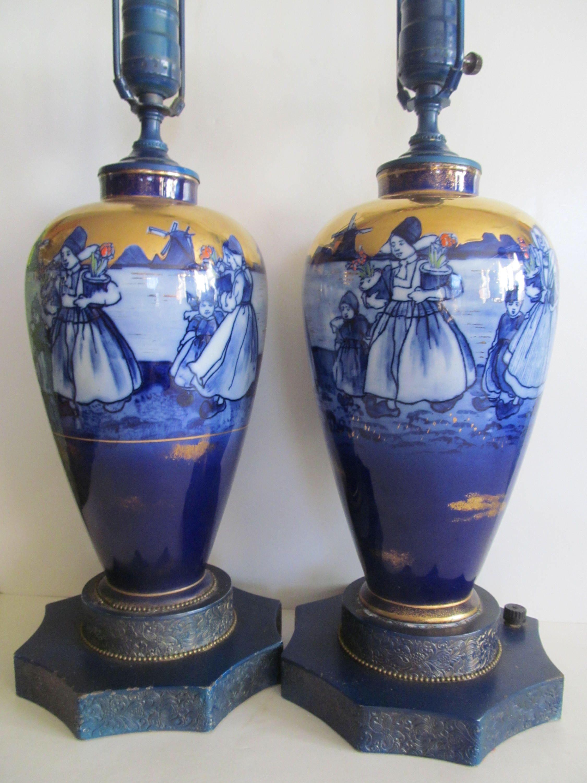 Pr of Flow Blue Lamps Flow Blue Delft Holland Lamps Blue
