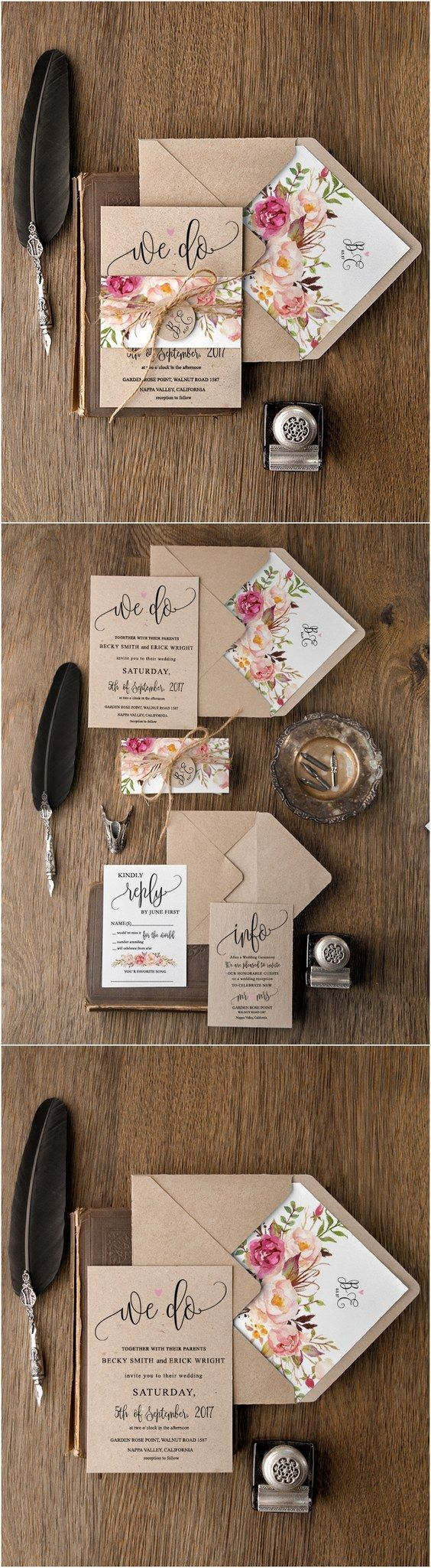 Rustic country peach and pink kraft paper wedding invitations ...
