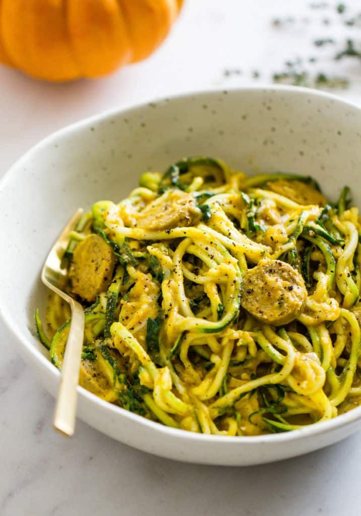 Pumpkin Sauce Kale Sausage Zucchini Noodles Food In 2019