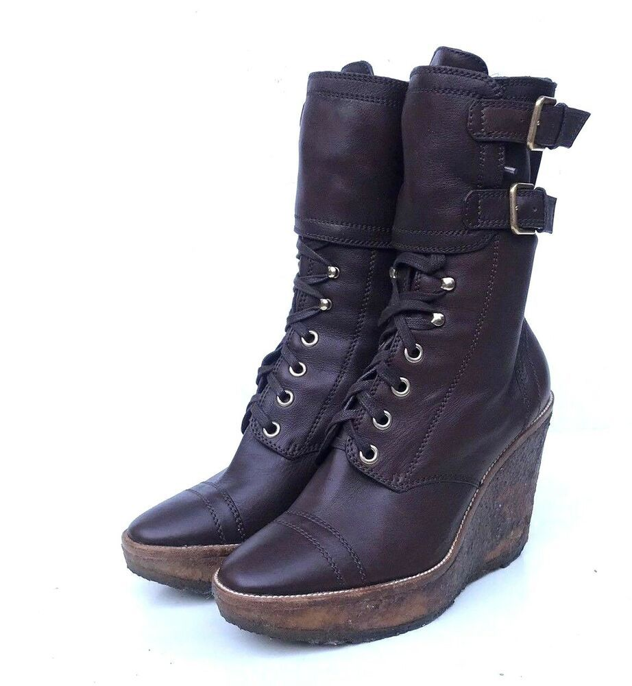 bef71fa5 YVES SAINT LAURENT YSL LEATHER COMBAT LACE UP WEDGE BOOTS 40 US 9.5 ...