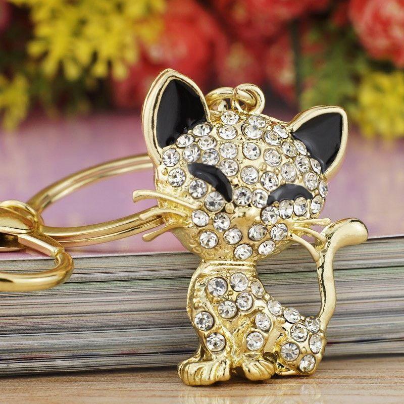 Dalaful Pretty Cute Cat Enamel Crystal HandBag Keyring Keychain For Car Purse Bag Buckle key holder K168