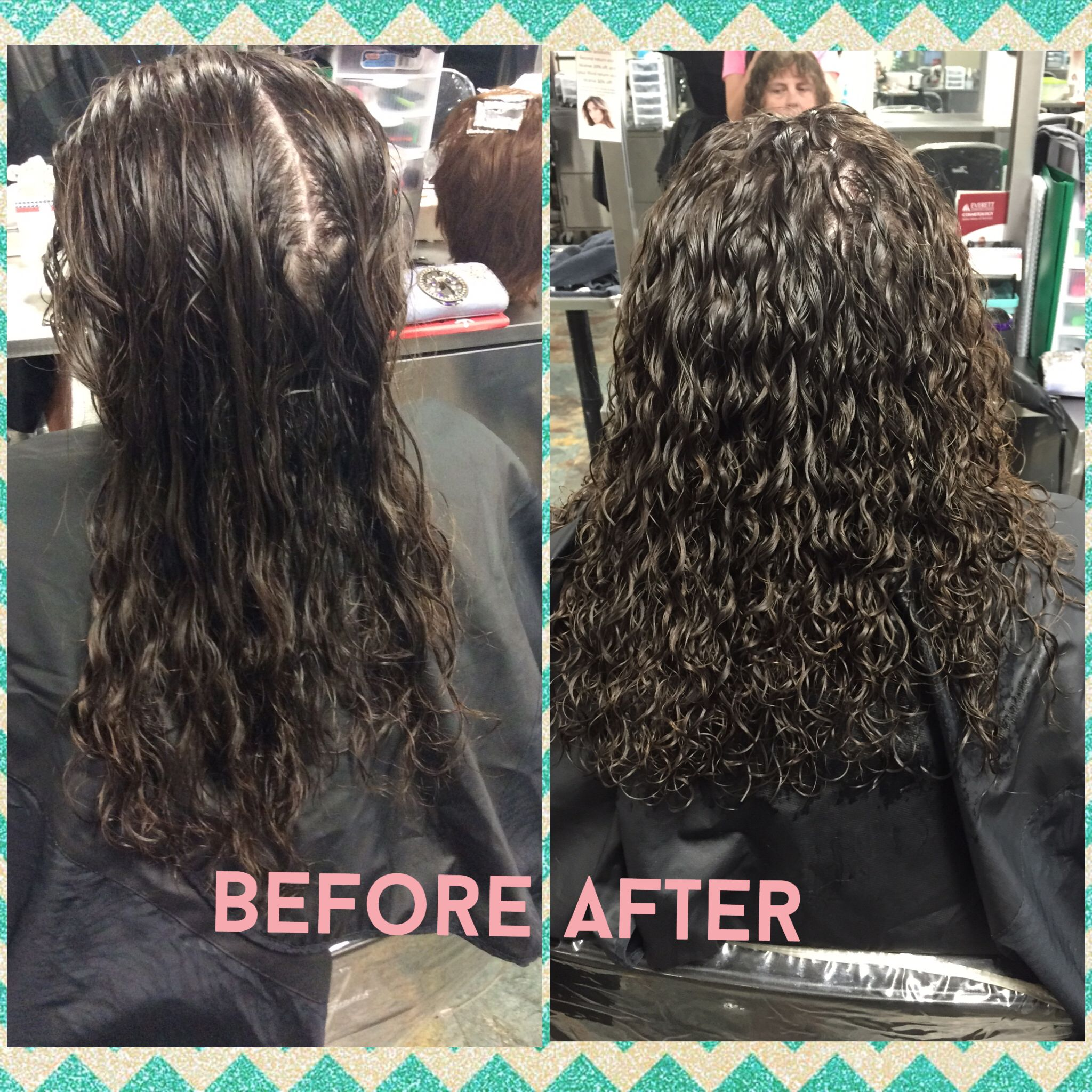 Spiral Perm Using Gray And White Rods Ultra Firm Spiralperm Perming Long Hair Perm Permed Hairstyles Perm