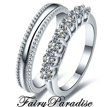 2 pcs Mens Sterling  Silver plain band & Womens 7 lab diamonds (0.1 ct each) Wedding Rings Set Anniversary Bands Promise ring Set w gift box  #WeddingBands #StackableRings #AnniversaryRing #EtsyLove #EtsySeller #Couplerings