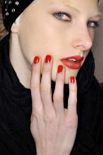 Red Lips And Red Nails Are Best Mixed And Matched Short Red