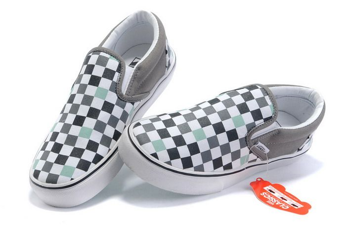 076c42d272 Vans Classics Checkerboard Slip-On Mens Shoes Grey Light Blue ...
