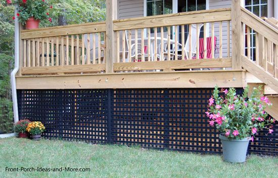 Black Vinyl Lattice Makes Attractive Skirting For Porch Or Deck See More At Www Front Porch Ideas And Vinyl Lattice Panels Lattice Deck Privacy Lattice Panels