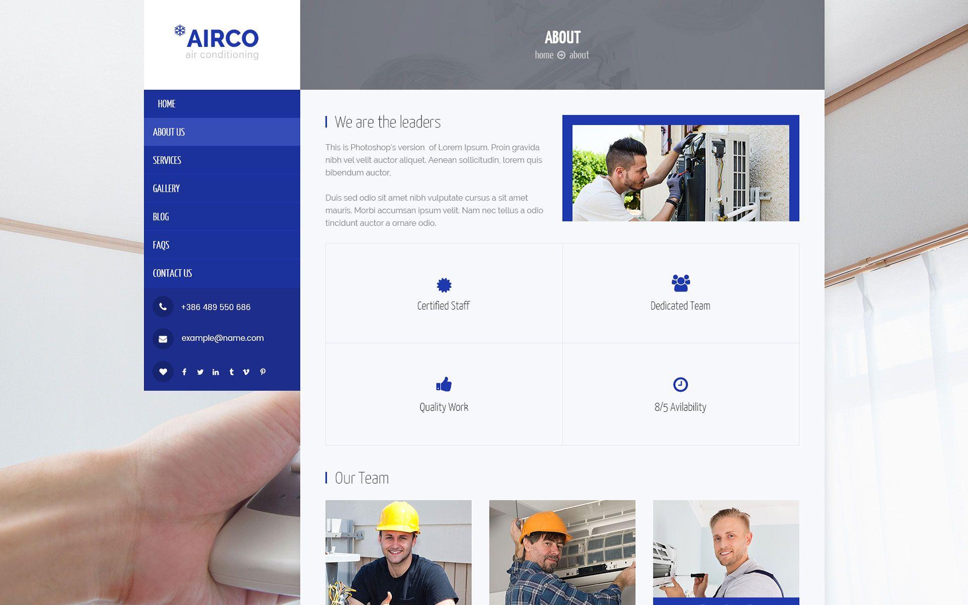Airco Air Conditioning Heating Wordpress Theme 69684