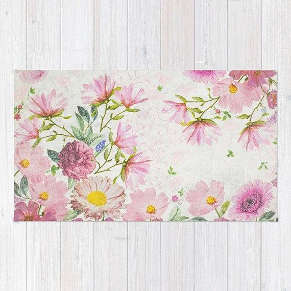 Pink Floral Watercolor Rug Pink Flowers Drawing Rug Pink Floral