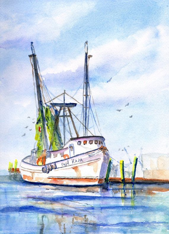 Shrimp Boat Original Watercolor Painting 9x12 Fishing Trawler