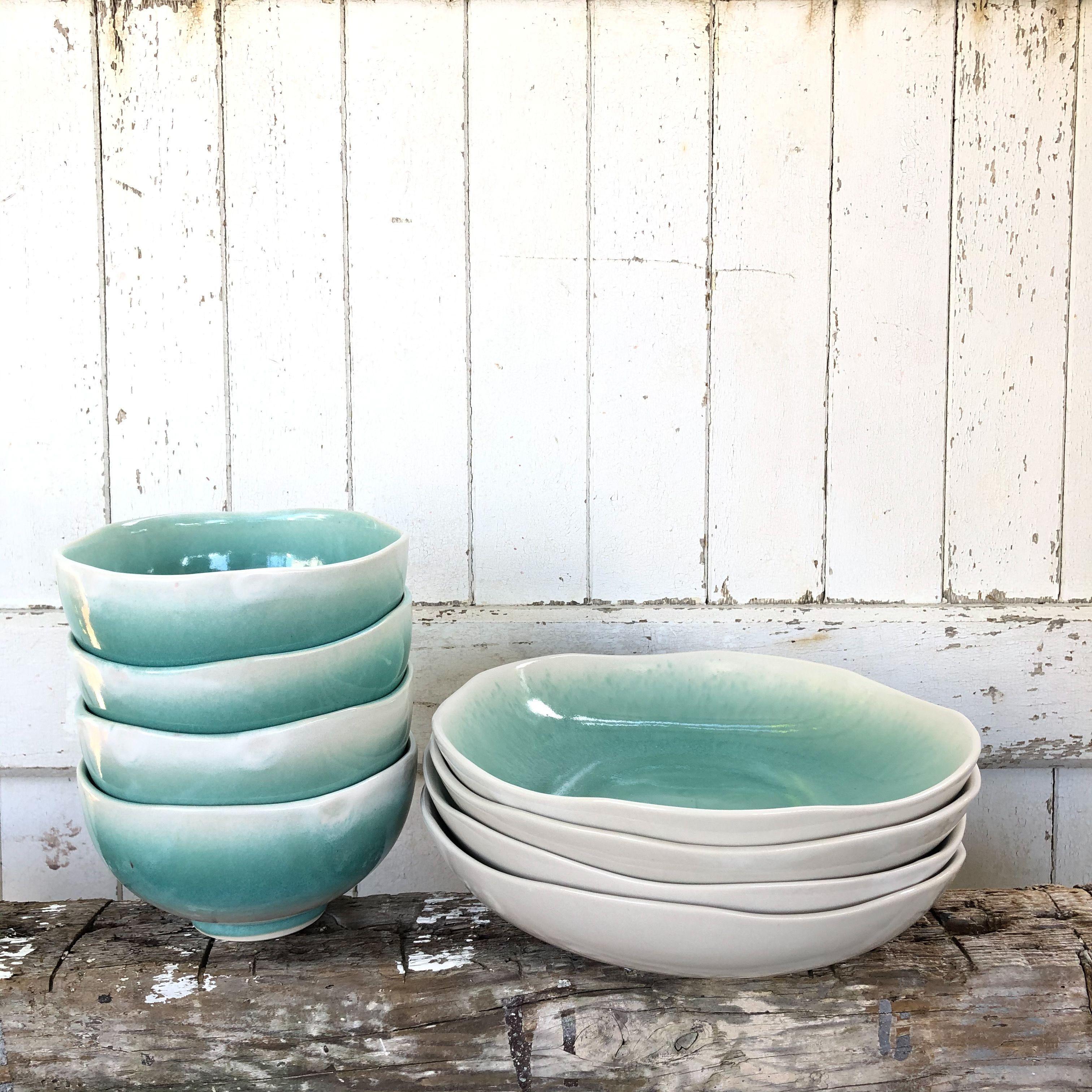 The 'Glacier' 8 Piece Tableware Set by Pottery For The Planet. #tablewarecollection #ceramictablewareset #potterydesign #potterytableware #earthenwarepotterytableware #potterystudio