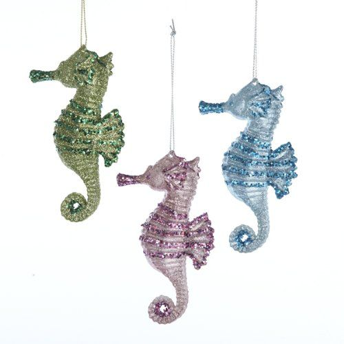 Sparkling Seahorse Hanging Holiday Ornament