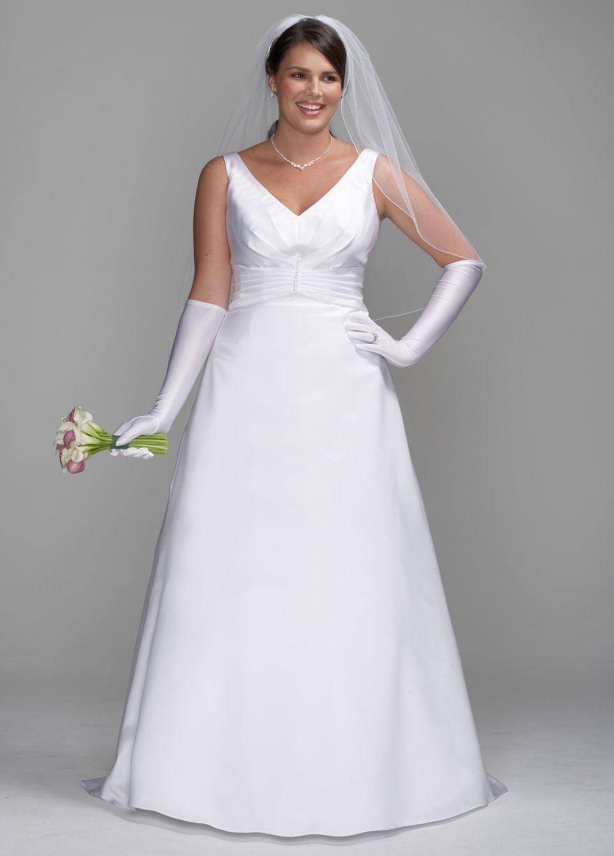 Plus size casual wedding dress  Satin ALine Gown with Pleated Waist Detail Style SAS  Plus