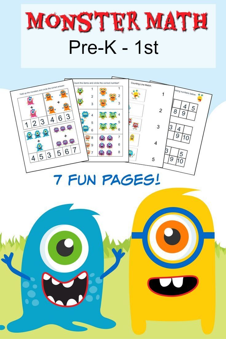 Monster Math Pack For Pre K To 1st Grade Monster Math Math Activities Preschool Free Math Printables