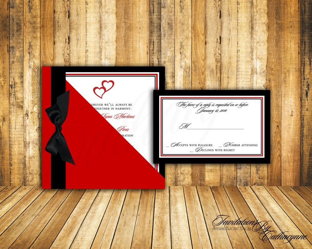 Red and Black Hearts Wedding Invitations | Pinterest | Red wedding ...