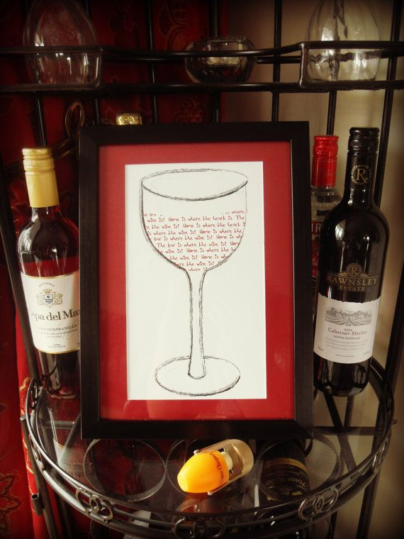 Designed By Vikki Anne Framed Wall Art Picture - Home Is Where ... Wine Glass