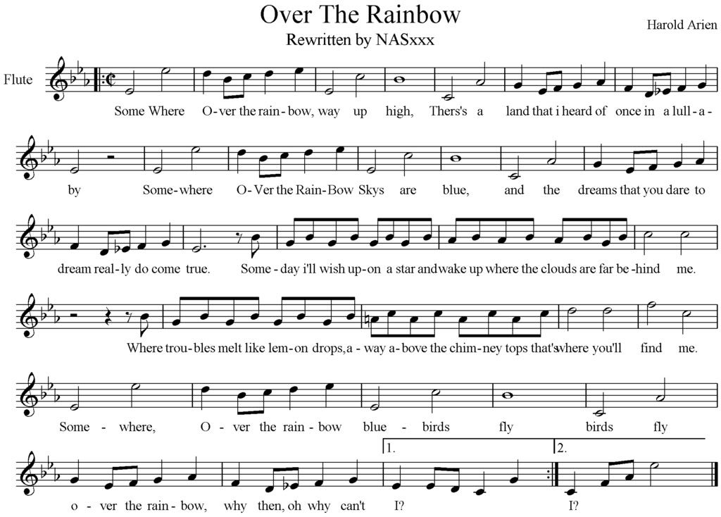 photo OverTheRainbow.jpg Flute music, Music chords