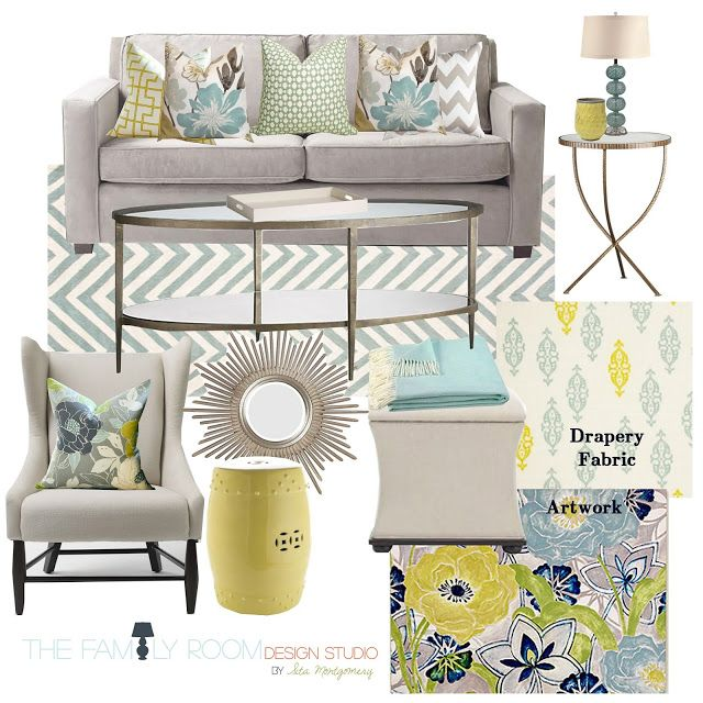 Sita Montgomery Interiors turquoise + green living room moodboard