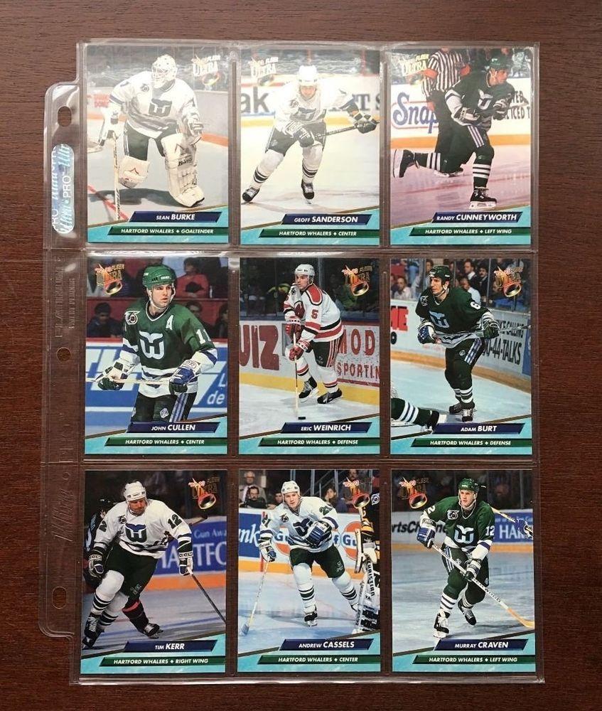 20 Lot Of 92 93 Fleer Ultra Hartfordwhalers Nhl Cards Excellent