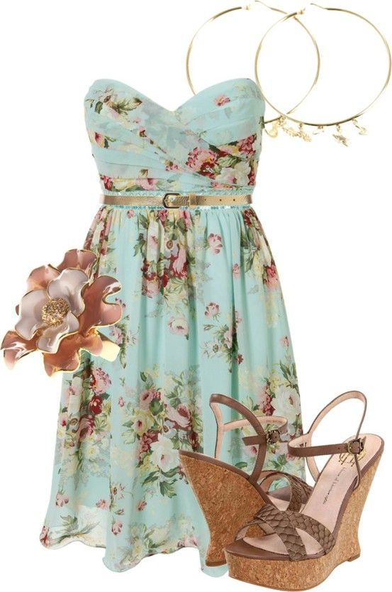 Cute spring/summer outfit for a outdoor party, maybe with flats or gladiator sandals instead...