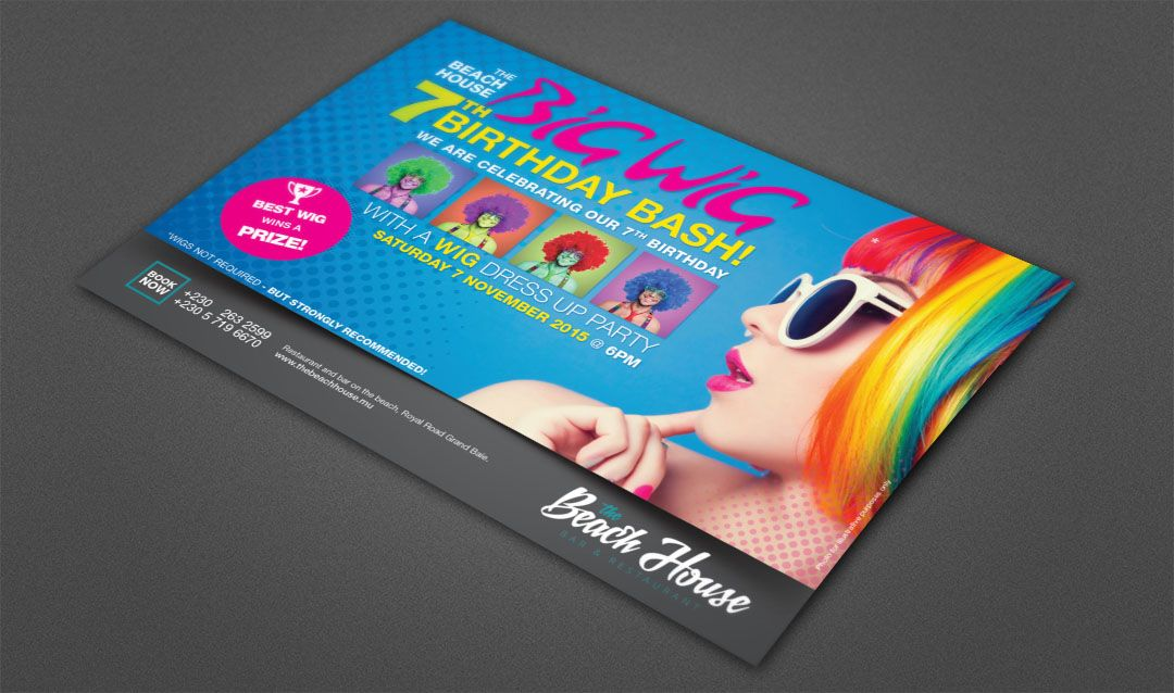 The Beach House Restaurant Anniversary 2015 Wig Invitation Card - invitation card event