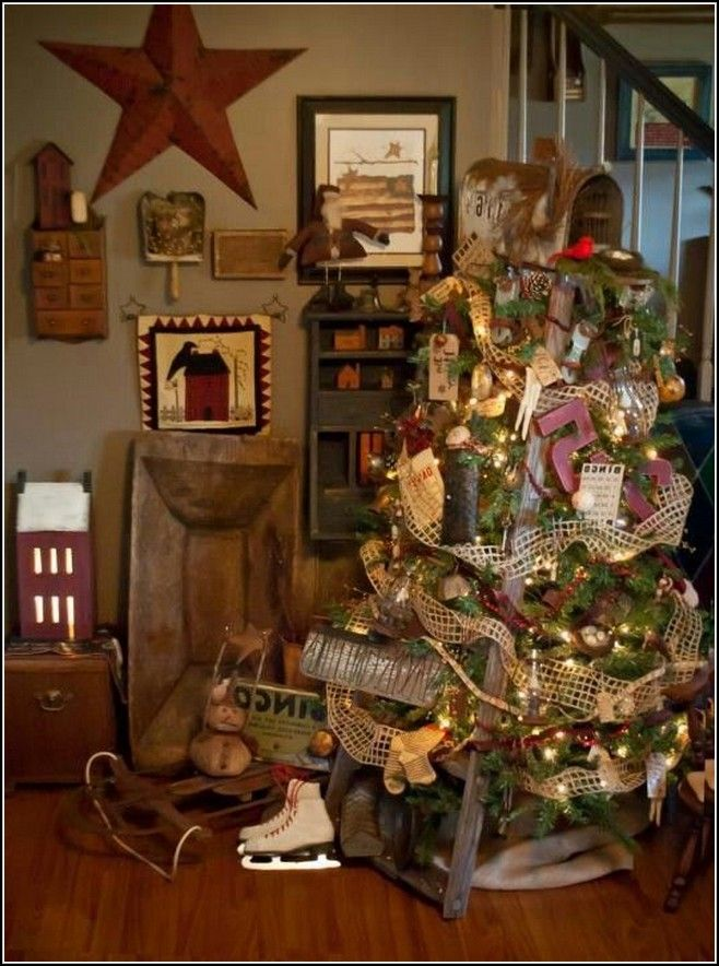 country home decor home parties primitive country christmas tree decorations is one of the 12035