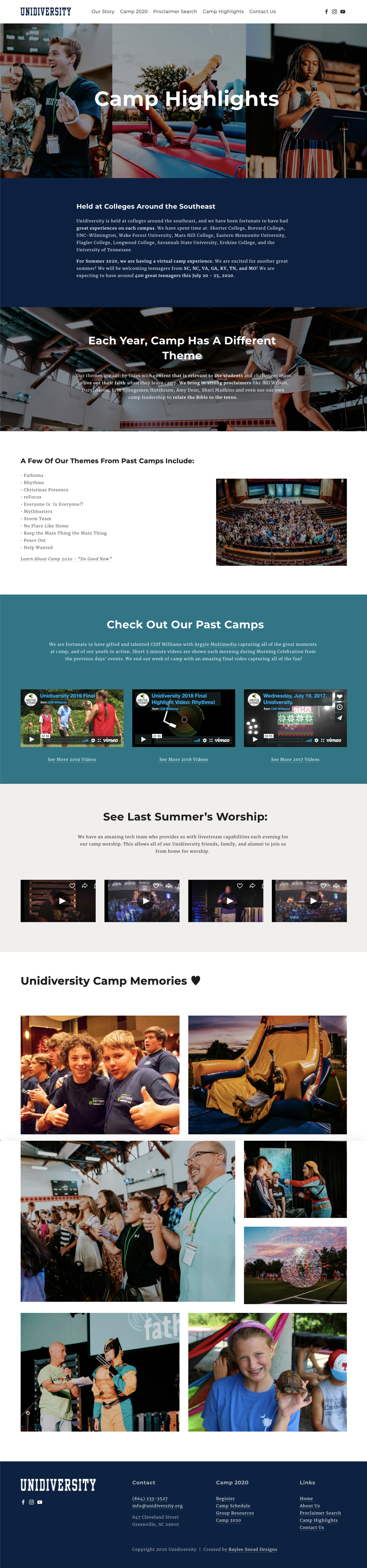 Website wireframe for a Christian youth camp. Colorful website design. Website design in Squarespace. Camp Highlights page. Features light blue, navy blue, and teal color palette. Features image gallery. #websitedesign #squarespace #websitewireframe