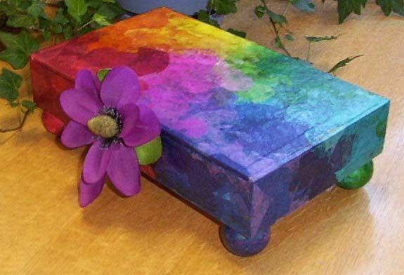 Rainbow Decoupage Jewelry Box