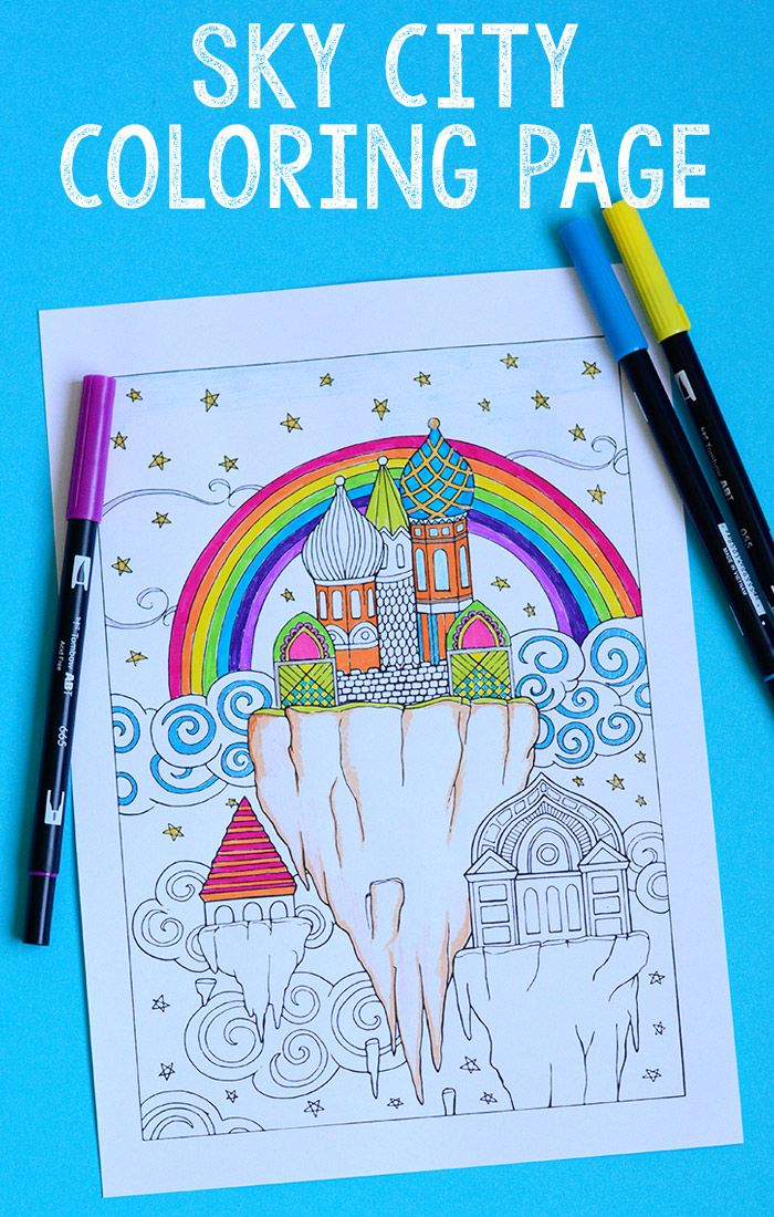 Sky City Coloring Page for Adults   City, Activities and Craft ...