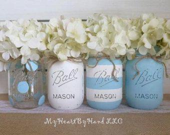 Mason Jar Baby Shower Decorations Baby Blue Baby Shower Decorations Baby Shower Mason Jars White