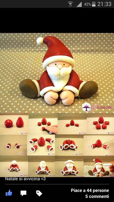 Babbo natale pdz | Christmas cake decorations, Christmas