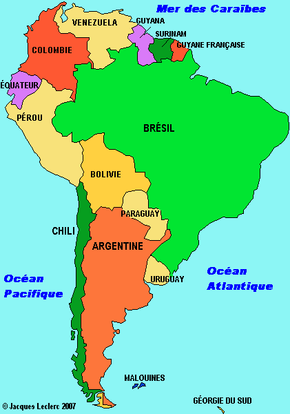 Amerique Du Sud Map Amérique du Sud: carte cliquable   Grade 4   America, South