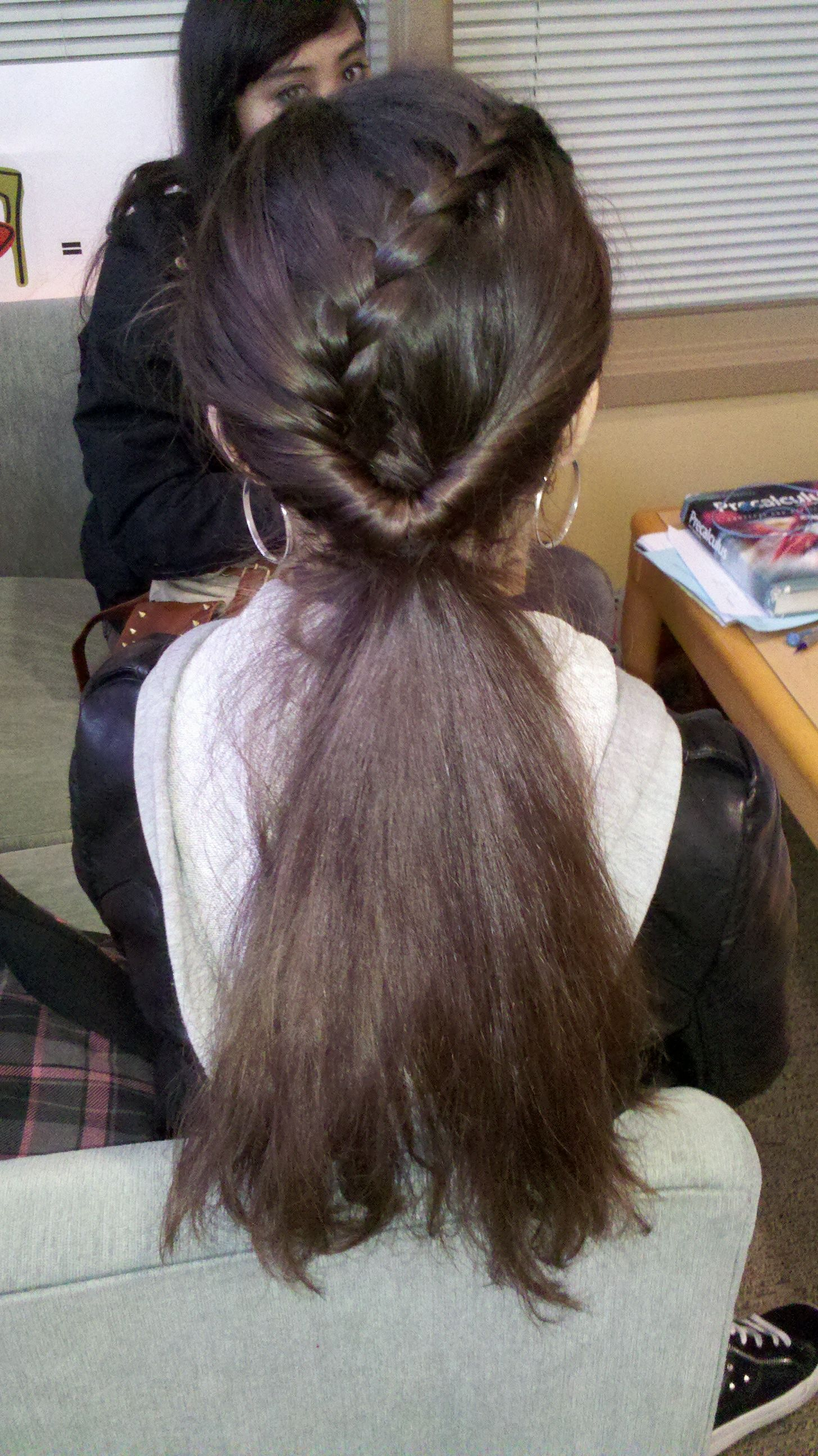 half french-braid pulled into inverted ponytail - super easy