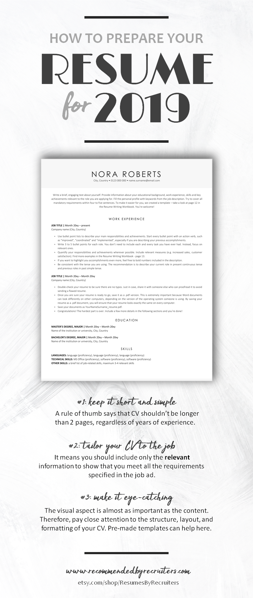 Executive Resume Template, Instant Download ATSfriendly